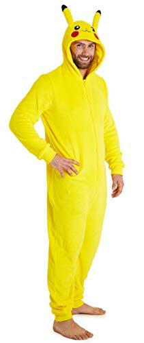 Pokemon Jumpsuit Herren, Pikachu Onesie Herren Halloween Kostüm, Fleece Onesie Damen und Overall Herren S-XXL, Jumpsuit Kuschelanzug Damen (Gelb, S)