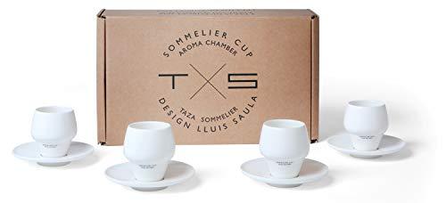 SAULA PREMIUM 4 Tazas Sommelier para café Espresso con cámara de Aroma, con 4 Platos a Juego, Medida Ideal para el Espresso, Porcelana Fina y conservación del Calor y de la Crema Optima.e
