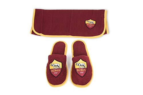 AS Roma Set Viaggio Telo + Slippers, 100% Microfibra, One Size