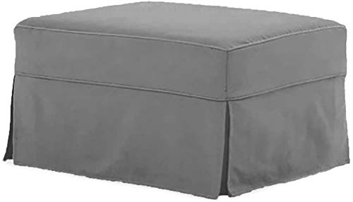 The Cotton Ottoman Slipcover Replacement. It Fits Pottery Barn PB Comfort Ottoman. Dense Cotton Sofa Footstool Cover (Comfort Light Gray)