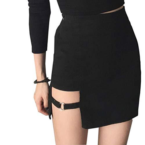 BSJIA Womens Asymmetrical Skirt High Waist Gothic Dance Short Mini Bodycon Skirts, Black, Large