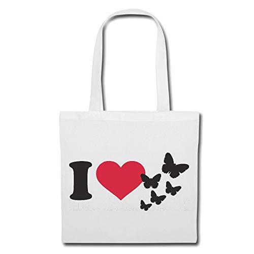 Tasche Umhängetasche I Love Schmetterling - Schmetterlinge - Butterfly - Larve - INSEKT Einkaufstasche Schulbeutel Turnbeutel in Weiß