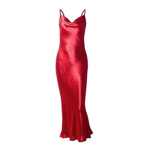 Kai&Guo Sexy Satin-Kleid für Damen, Spaghetti-Träger, rückenfrei, Schnürung, Trompete, langes Kleid, Sommer, elegant, figurbetont, für Nachtpartys, 8151, Rot, Größe S