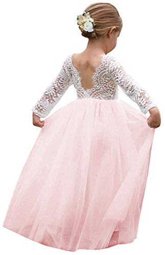 Girl Toddler Full-Length Straight Tulle Tutu Lace Back Party Flower Girl Dress (6-8 Year, Sleeve-Pink)