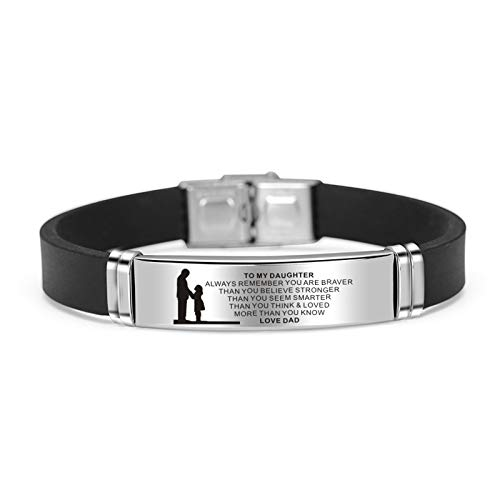 Zoloyo Teens Bracelets, To My Son/Daughter Bracelets Engraved Inspirational Message Cuff Wristband Birthday Graduation Xmas Gift for Teens