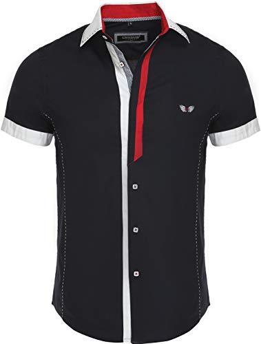 Carisma Casual Herren Kurzarmhemd Freizeit/Business Hemd Kontrast Hemd Slim-Fit mit Kentkragen 9007 schwarz XL