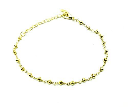 LOVEKUSH - Pulsera de piedras preciosas chapada en oro de 2,5 a 3 mm con forma de pirita dorada facetada de 2,5 a 3 mm