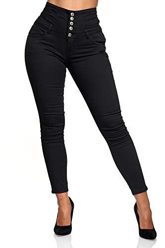 Elara Damen Jeans Stretch Skinny High Waist Chunkyrayan EL60 Schwarz-48 (4XL)