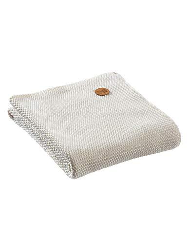 Bio Babydecke Strick-Qualität 100% Bio-Baumwolle (kbA) GOTS zertifiziert, Elfenbein, 80 x 95 cm
