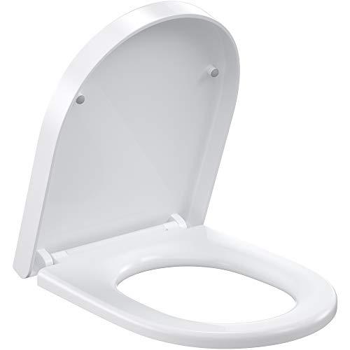 ROMISA Tapa de inodoro, asiento de inodoro con función de descenso, función de liberación rápida, fácil fijación arriba y abajo, bisagras ajustables, forma de O blanco (PP crudo, D)
