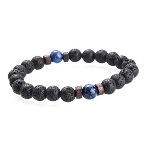 JINGGEGE Men Bracelet Natural Moonstone Bead Tibetan Buddha Bracelet Lava Stone Diffuser Bracelets Men Jewelry Gift (Metal Color : 6)