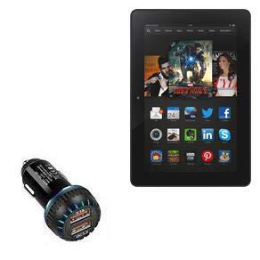 Kindle Fire HDX 8.9 (3rd Gen 2013) Car Charger, BoxWave [QC3.0 Dual Car Charger] Dual Charger for fast multi-device charging for Amazon Kindle Fire HDX 8.9 (3rd Gen 2013) - Jet Black