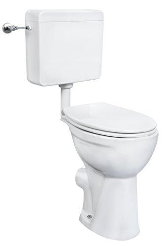 Cornat erhöhtes Stand-WC-Komplettset weiß / Toilette extra hoch / Toilette / Tiefspüler / Toilette mit WC-Sitz / Toilette mit Spülkasten / Sanitärkeramik / SKTCOBD00