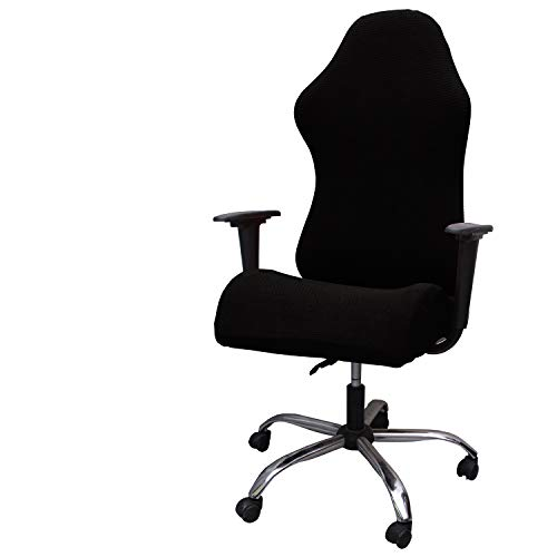 WOMACO Gaming Chair Slipcovers Spandex Jacquard Stretch Computer Desk Chair Cover for Leather Office Game Reclining Racing Ruffled Gamer Chair Protector (Black, Large)