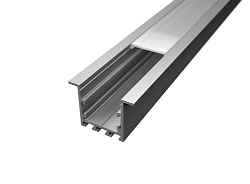 Profilé en aluminium LP3040 de 2 m encastrable pour plaque de plâtre coque opaque avec crochets de montage et bouchons