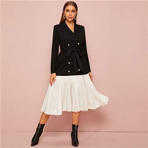 GMZA Gekerfde kraag, dubbele rijen, plooien, elegante jurk, dames, herfst, lange mouwen, colorblock, midi, blazer jurk