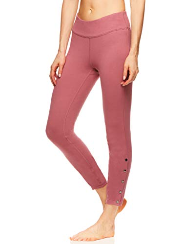 Gaiam Women's High Waisted 7/8 Yoga Pants - Performance Compression Workout Leggings - Katya Deco Rose, X-Large