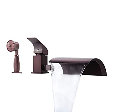 JinYuZe New ORB Roman Tub Filler Faucet 3-hole Deck Mount Waterfall Bathroom Bathtub Mixer Faucet with Handheld Shower Head?with Diverter?