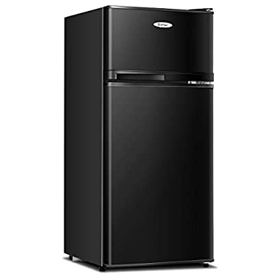 COSTWAY Compact Refrigerator, 2-Door 3.4 cu. ft. Under Counter Fridge, Freezer Cooler Unit for Dorm, Office, Apartment with Adjustable Removable Glass Shelves (BlacK)