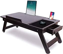 Fangle Wooden Adjustable Foldable Laptop Table Drawer Bed Table Study Table Brown DN 02