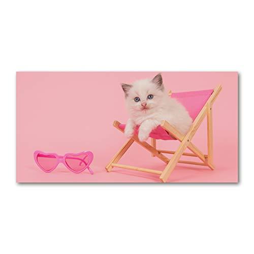 Tulup Glas-Bild Wandbild aus Glas - Wandkunst - Wandbild hinter gehärtetem Sicherheitsglas - Dekorative Wand für Küche & Wohnzimmer 100x50 - Tiere - Katze Liegestuhl - Rosa