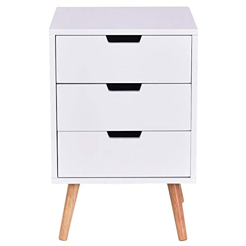Nightstands bedroom White side coffee table bedside table with three drawers, with 3 drawers.