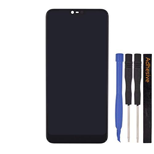 Tela dupla de substituição de digitalizador de tela LCD com certeza de toque para Nokia 7.1 (preta)