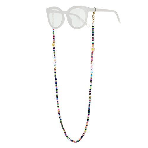 KELITCH Damenketten für Maskenketten Halskette Boho Schmuck Brillen Ketten Regenbogen Brief Halskette Evil Eye Choker Smile 2021 Mode Halsketten (14L)