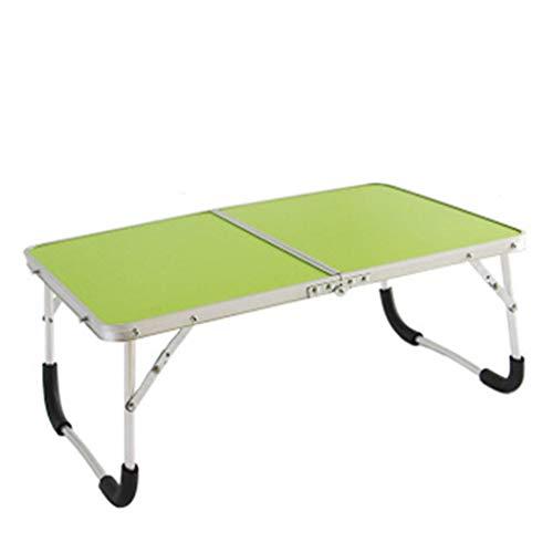 ZXCVBNM Mesa de sobrecama móvil portátil plegable para interior y exterior, picnic, fiesta, camping y comedor, mesa plegable con ruedas sobre la cama (color: verde, tamaño: 61 x 42,5 x 26,5 cm)
