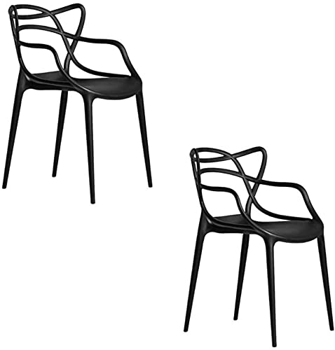 Lote de 2 sillas metálicas Estilo Tejido Interior al Aire Libre Moderno Retro Comedor de jardín sillas apilables,Negro