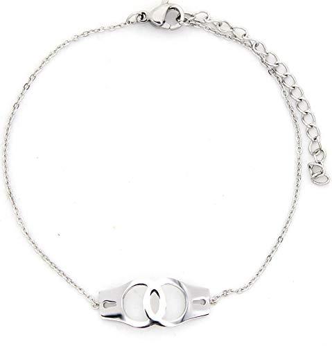 Musthaves Damen Armband mit Handschellen - Edelstahl - Länge verstellbar 17-22 cm (Silber)