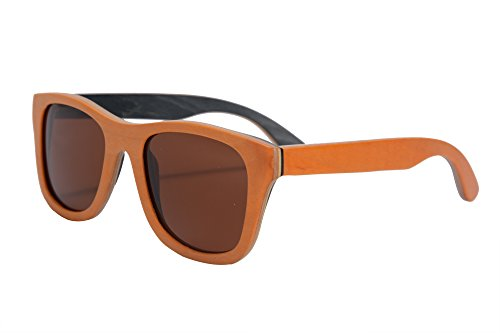 SHINU polarisierte hoelzerne Sonnenbrille-Skateboard-hoelzerne Sommer-Glaeser UV400 Schutz-im Freiensport-Sonnenbrille-FG68004 (Ausserhalb Orange Middle Nature Inside Black, braun)