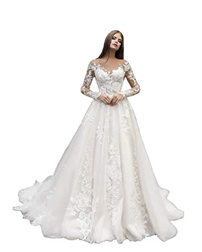 Clothfun Women's Lace Appliques Beach Wedding Dresses for Bride 2021 A-Line Boho Bridal Gowns Ivory 16 Plus Size