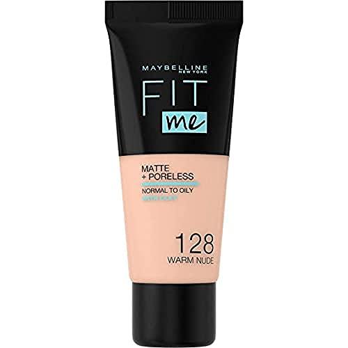 Maybelline New York Fondotinta Coprente Opacizzante Fit Me Matte&Poreless, Colore Uniforme, Pori Minimizzati, 128 Warm Nude