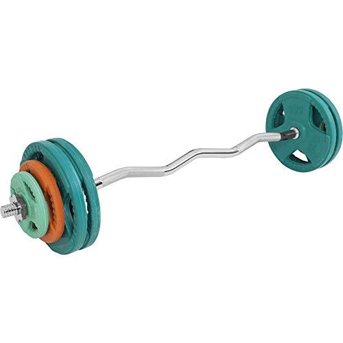 GORILLA SPORTS® SZ-Curlset 35 kg Gummi Gripper – SZ-Hantelstange, Gewichten und Sternverschlüssen