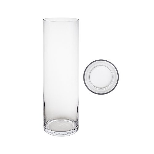 Mega Vases Cylinder Vase 5 Inch x 20 Inch, Decorative Clear Glass with Sturdy Base, Wedding Centerpieces, Flower Bouquets, Home Décor, Celebrations, Parties, Event Planning, Arts & Crafts