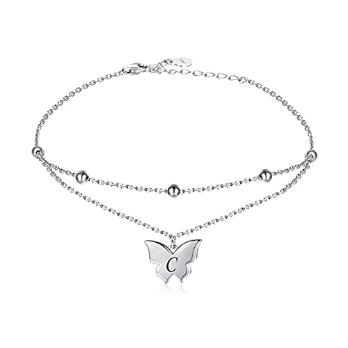 Layered Butterfly Anklet With Initial - 925 Sterling Silver Beaded Letter Ankle Bracelet Foot Jewelry Gift for Women Girls… silver