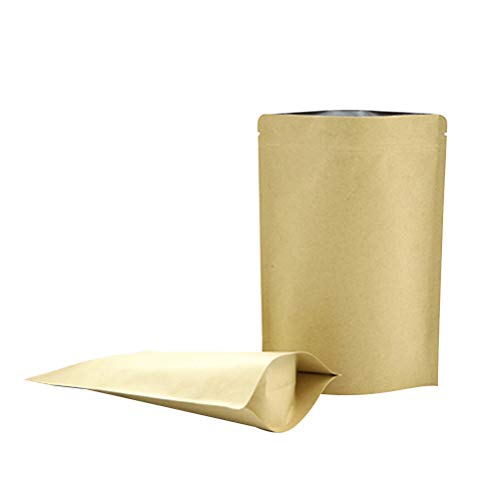 BESTONZON 50pcs Levántese la bolsa de papel Kraft Bolsas de alimentos con cierre de cremallera Kraft Bolsas autoestables Almacenamiento de alimentos Sellado reutilizable Granos de café (Marrón)