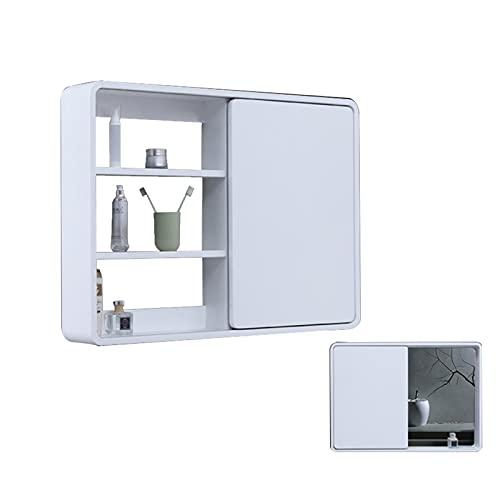 Armadietti a specchio Feng Shui A Scomparsa Armadietto da Bagno Contenitore A Specchio Scorrevole Specchio da Toilette Tipo Appeso A Parete con Ripiano Design Ad Arco Arrotondato