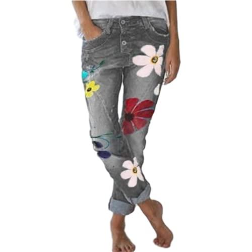 Pantalones Vaqueros Casuales de Mujer para otoño Pantalones de Pierna Recta de Cintura Media Pantalones de impresión de Moda de Gran tamaño 3XL