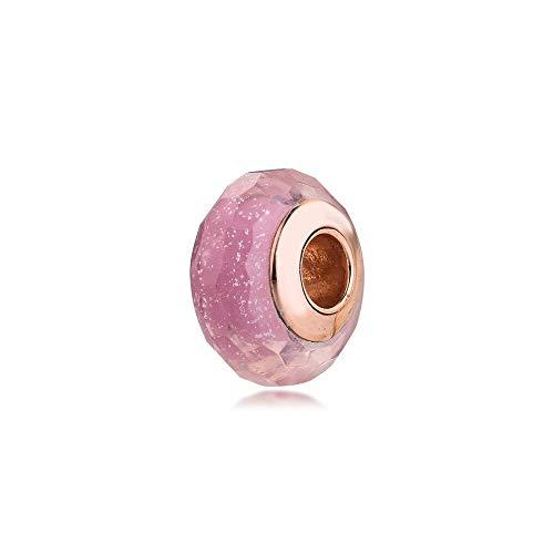 LILANG Pulsera de joyería Pandora 925, dijes de Cristal de Murano Shi Ering Rosa Natural, se Adapta a Cuentas de Plata esterlina para Mujeres Enteras, Regalo DIY