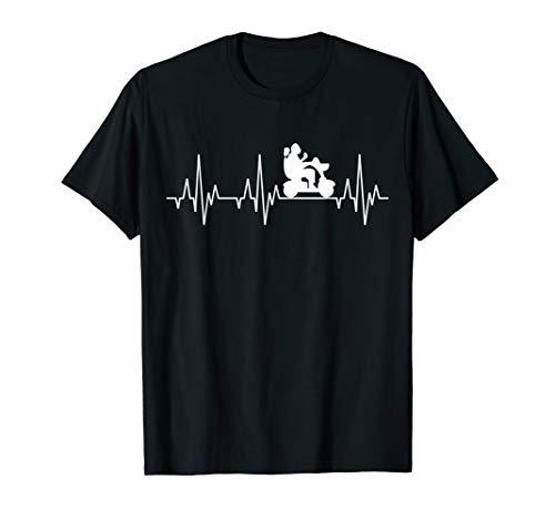 Elektrischer Rollstuhl Behindert Rentner Herzschlag T-Shirt