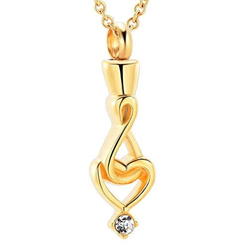 WYZQ Collar para Cenizas Encanto Mujeres Infinito Amor corazón cremación urna Collar Memorial Cenizas Recuerdo Colgante 1 Piezas, memoriales