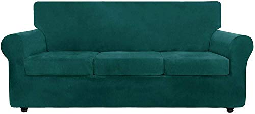 JIAYOUFC - Fundas de sofá de Terciopelo de Lujo con Fundas de cojín separadas, Protector de Muebles Antideslizante de Repuesto de Funda de sofá de Felpa Ultra Suave elástica con Fondo elástico (