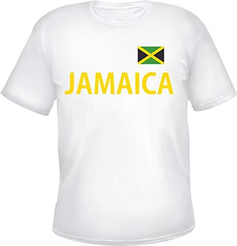 Jamaica Herren T-Shirt - Blockschrift mit Flagge - Tee Shirt Jamaika XL Weiß