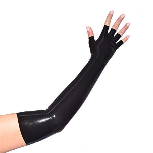 Rubberfashion Lange fingerlose Latex Handschuhe, Latexhandschuhe bis zum Ellenbogen mit veredelter Oberfläche nicht chloriert für Frauen und Herren schwarz M