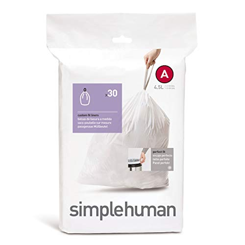 simplehuman, sacchetti su misura codice A, bianchi, confezione da 30