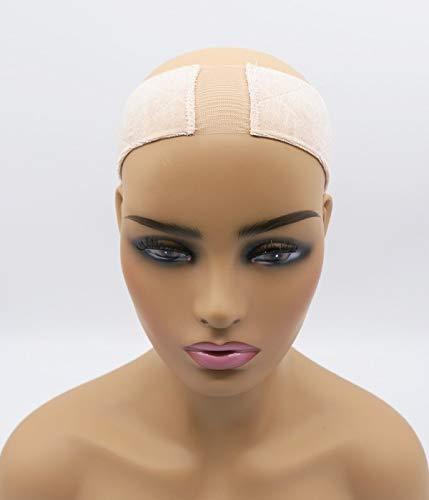 UniWigs Lace Wig Grip Elastic Headband,Velvet comfort adjustable headband, Free Clips&Tape,Keep Wig Secured (Beige)