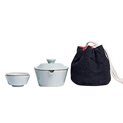 DehuaYao All in One Travel Set Teapot & Ceramic Cup with Ceramic Infuser,Gaiwan,Portable with Carrying Case (With 2 cups)