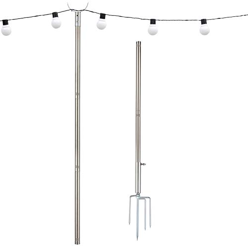 MIYA Light Pole - Outdoor 9FT Light Pole for String Lights - Outside Stainless Steel String Lights Pole for Yard Garden - String Lights Pole Stand for Night Wedding and Party
